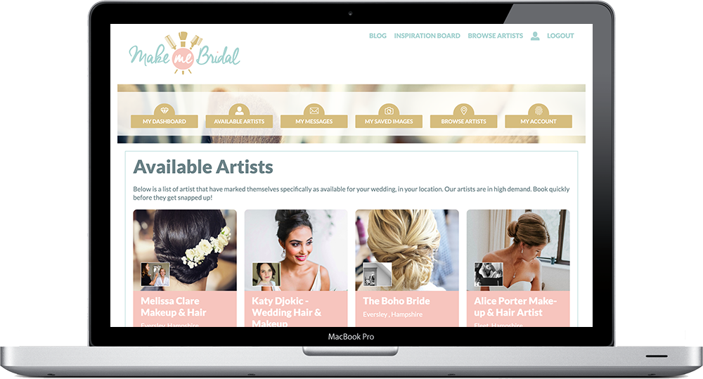 Make Me Bridal Bride Dashboard Avilable Wedding Hair and Makeup Artists example